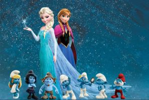Anna,Elsa and The Smurfs. by Smurfette123