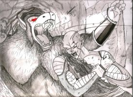 Giant Piccolo vs Giant ape Nappa by Sreehari-Namikaze