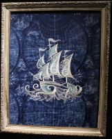 Fabric Art - The White Ship by Caraut