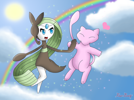 Meloetta and Mew by Rose-Beuty