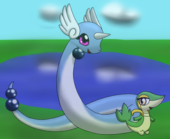 Dragonair and Snivy by DreamyNormy