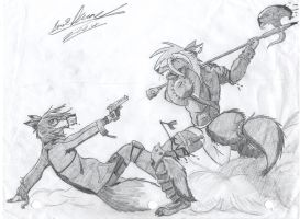 Fox v.s. Wolf Doodle by CrimsonSwiftpaw