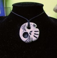 Little Skully pendant with webs and spider by Cristineorkan