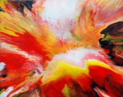 Red And Yellow Fluid Painting by Mark-Chadwick