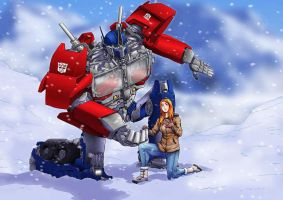 com Optimus and Loralyn by adivider