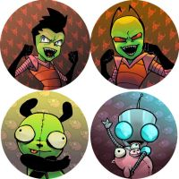 Zim and Gir buttons/keychains by happychild