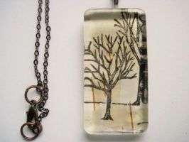 Birch tree pendant necklace by helpmeplease55