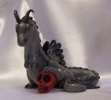 Steel Gray Polymer clay Dragon w skull by Valtira