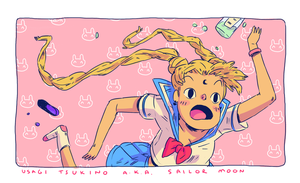 Sailor Moon stumble by HannaKN