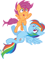 MLP FiM! Rainbow Dash and Scootaloo!! Colored by IAmADinosaurRARRR