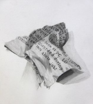 Piece of Newspaper Still Life Drawing by Xshredder01X