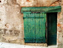 La porte Verte-Green Old Door by Anupthra