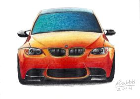 BMW M3 GTS E92 Realistic car drawing colour orange by MaxBechtold