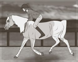 Training In Sepia by WB-Equine-Art