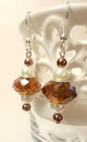 Brown Pearl and Pandora Earrings by TheSortedBead