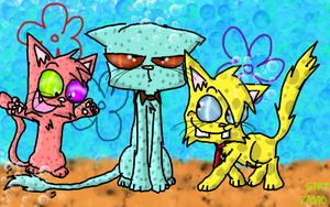 Spongebob and friends as cats by Catmaniac8x