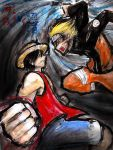 + Luffy vs Naruto + by slifertheskydragon