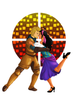Esmeralda and Captain Phoebus by AthenaNina