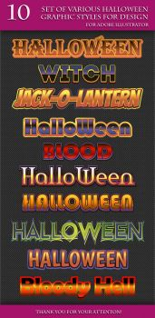 Set of Various Halloween Graphic Styles for Design by Love-Kay