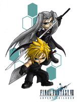 Cloud and Sephiroth by Trevone