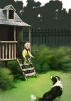 Boy throws ball to dog by Witbik