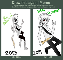 Before and After: BEN Drowned drawing by AllTheLittleWonders