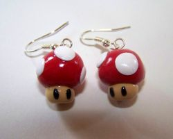 Mario Mushroom Earrings by ByToothAndClaw