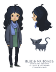 Blue and Mr. Bones by thundercake