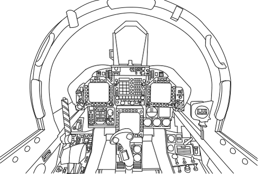 F-18A Super Hornet Cockpit Vector (Uncolored) by WorldofTanks