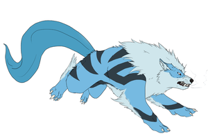 Articuno-blessed Arcanine thingie by MoonlostArts