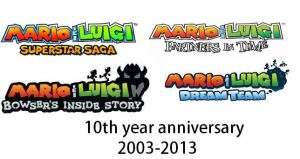 Mario and Luigi 10th Year anniversary by Nintendoisforme