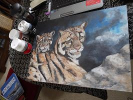 Blocking in Cloulded Leopards by acrylicwildlife