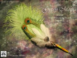 GYPSY MOTH Feather Pen by ChaeyAhne