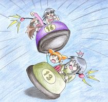 Azumanga Bumper cars by Teh-stupid-bug