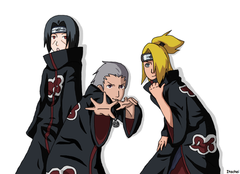 Itachi, Hidan, and Deidara by Itachei