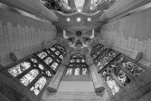 Sagrada Familia Windows B/W by da-phil