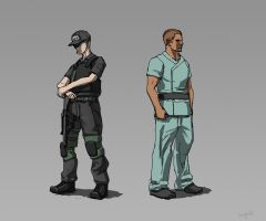 Security guard and male nurse by longgi