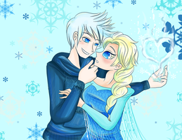 Elsa and Jack Frost by NamiOki
