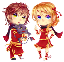 Chibi Hiccup and Astrid by ibahibut