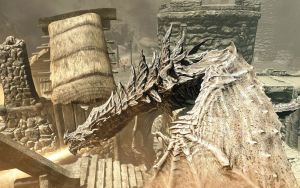 Alduin doing away with Helgen by NorroenDyrd