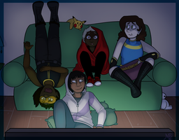 Movie night-Superheroe OA by Marleepup