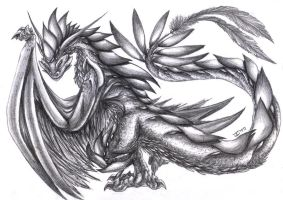 Feathered Wyvern-Pencil art by Fly-Sky-High