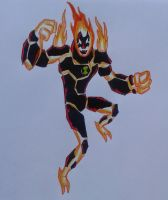 Heatblast action pose Ben 10000 OV by Kamran10000