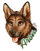 Aron Painted Portrait Badge by GoldenDruid