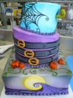 Tim Burton wedding cake by keki-girl