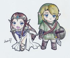 Link and Zelda Chibi by SuperPrincessSyd
