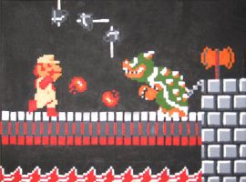 Mario vs Bowser by Squarepainter
