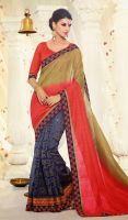 Mehendi-Green-Red-and-Blue-Silk-Georgette-Half-N-H by ethniclover