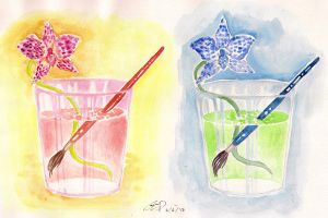 Brush, Glass, and Orchid by artemiscrow