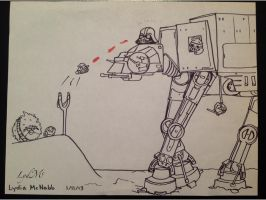 Star Wars Angry Birds - Black and White AT-AT by LydMc